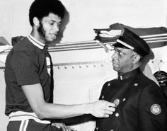 Basketball great Lew Alcindor, better known as Kareem Abdul-Jabbar, is seen with his father, Lt. Ferdinand L. Alcindor in 1971. A graduate of Power Memorial High School in Manhattan, Abdul-Jabbar went on to star with the Milwaukee Bucks and Los Angeles Lakers, racking up six NBA Most Valuable Player awards along the way. He was elected to the Basketball Hall of Fame in 1995.