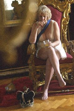A reflective moment on the throne for the Duchess of Cornwall, Camilla, as she sips a G&T in her underwear, still wearing her pearls and royal sash. An abandoned crown and sceptre lie at her feet in this spoof portrait by the artist Alison Jackson. - The Independent