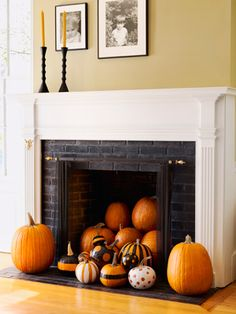 Fireplace filled with pumpkins