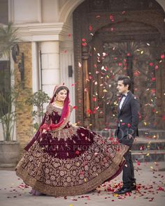 Bridal Reception Lahnga In Dark Maroon Color by shaliniboutique on Etsy Muslim Wedding Dresses, Pakistani Wedding Outfits, Indian Bridal Outfits, Indian Bridal Lehenga, Pakistani Wedding Dresses, Bridal Lehenga Collection, Bridal Dress Design, Bridal Photoshoot, Sari
