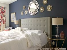 we would love to have bloggersponsor decorchick design our bedroom navy accent wallsbedroom