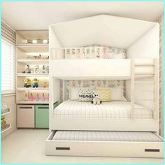 When it comes to room decor, be it large or small, the most important is to offer aconhechego residents. Bed For Girls Room, Bedroom Decor For Teen Girls, Cute Bedroom Ideas, Room Ideas Bedroom, Girl Room, Room Ideas For Girls, Small Girls Bedrooms, Teen Bedroom Designs, Room Design Bedroom