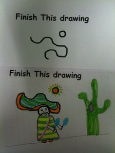 Fun activity if students finish early with assignments. I didn't this during my student teaching. The kids write a story to go with their pictures. It's really fun to read their stories. Freetime Activities, Fun Activities, Early Finishers Activities, School Age Activities, Art Classroom, Future Classroom, Classroom Ideas, Funny Test Answers, Ecole Art
