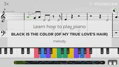 Learn to play Black Is The Color (Of My True Love's Hair) made famous by Traditional on piano with the Yousician app! Perfect for beginners and advanced musicians. Piano Exercises, Easy Piano Songs, Keyboard Lessons, Love Hair, True Love, App, Play, Traditional, Learning