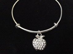 Crystal Apple Silver Expandable Charm Bracelet Adjustable Wire Bangle * Tried it! Love it! Click the image. : Handmade Gifts