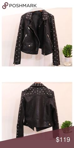Studded vegan leather jacket Either over a little black dress or with jeans and a white t-shirt this jacket can bring out the sassy girl in you. Jackets & Coats