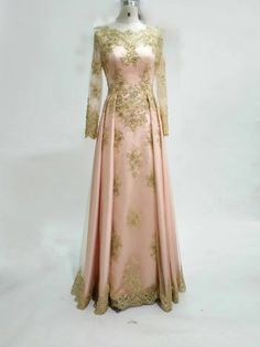 Elegant Blush Pink Long Sleeve Party Dress with Gold Lace Appliques Beaded Sheer Neck Floor Length Arabic Formal Evening Dresses Prom Gowns