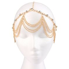 New Head Chain Gold with Clear Studded Wavy Style Adjustable Head Chain Hugssy
