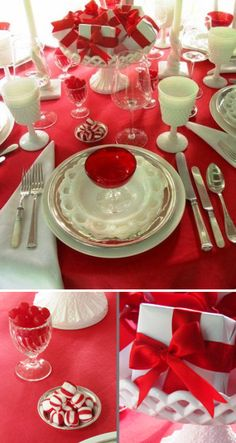 Red and White Christmas Table Setting - Christmas Decorating Ideas