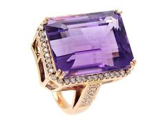 Ring, 18K pink gold, emerald cut amethyst 25,80 ctw, brilliant cut diamonds 0,65 ctw, approx W/VS, size 17,00 mm, weight 14,9 g. #jewelry #jewllery #amethyst #rings