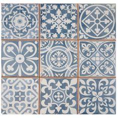 "EliteTile Faventie Azul 13"" x 13"" Glazed Ceramic Field Tile in Blue"