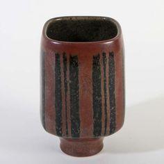 Vase mit vertikalen Streifen Karl Scheid frühes Stück art pottery Studiokeramik | eBay