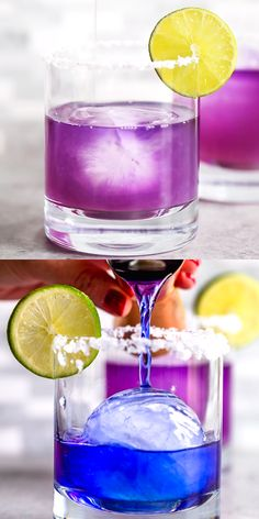 This Magical Color Changing Margarita is all - natural - no food dye! A secret, natural ingredient makes this margarita turn from blue to purplish pink right before your eyes! Make this fun and unique margarita for Cinco De Mayo! Colorful Drinks, Fancy Drinks, Bar Drinks, Summer Drinks, Alcoholic Drinks, Bourbon Drinks, Beverages, Gin Cocktail Recipes, Tea Cocktails