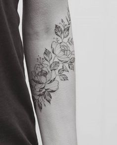 Image result for floral tattoo black and white