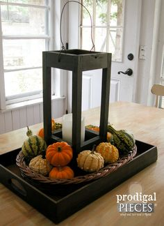 Rustic Farmhouse Wooden Lantern with LED Pillar Candle ~ Handmade ~ Traditional Cottage Chic Style by Prodigal Pieces on Etsy. www.prodigalpieces.com