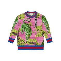 Gucci Bengal Print Sweatshirt ($1,350) ❤ liked on Polyvore featuring tops, hoodies, sweatshirts, patterned sweatshirt, graphic print sweatshirts, multi color tops, pink sweatshirts and pink top