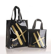 Harrods Gold H Signature Black PVC Tote Bag Top-handle Casual Shopper Handbag