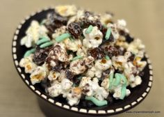 #MealoftheDay for March 15th is Thin Mint Popcorn submitted by ChewNibbleNosh. Perfect Treat for kids on St. Patrick's Day!