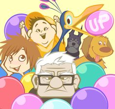 :d :p age difference alpha (up) androgynous balloon bird black eyes black hair brown eyes brown hair carl fredricksen copyright name disney dog dug (up) ellie fredricksen feathers glasses kevin (up) looking at viewer missing tooth multiple boy