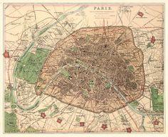 Antigo mapa de Paris e arredores