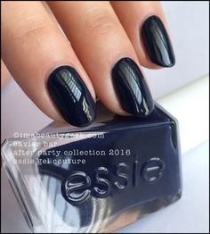Essie Caviar Bar – magnificent deep navy (above). She's a migrator, so don't load your brush and start higher on the nail than you think. Also, you really gotta watch your cuticles and side walls here. I tested it for you so I know. Trust me.