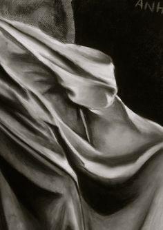 In-class drapery drawing 2012  Charcoal  Artist: mstruonganh  http://msa-artgallery.tumblr.com