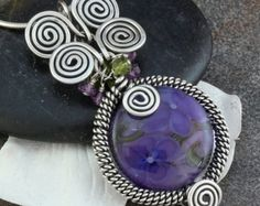 Wire Wrapped Lampwork Bead Pendant Necklace in Sterling Silver, Purple Florals, Amethyst and Green Garnet