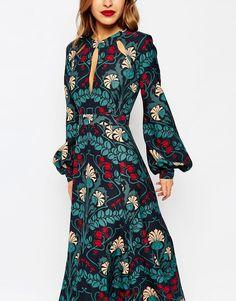 Image 3 - ASOS PETITE - Robe longue style caftan à détail goutte d'eau et imprimé fleuri