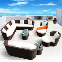 Rattan Sofa Outdoor Furniture With Cushions Brown Color Garden Sofa… Living Room Decor Curtains, Living Room Sofa, Living Room Furniture, Sofa Furniture, Antique Furniture, Rattan Outdoor Furniture, Rattan Sofa, Rooftop Terrace Design, Spray Paint Furniture