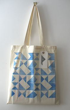 Signals - hand printed cotton tote bag (blue). £8.00, via Etsy.