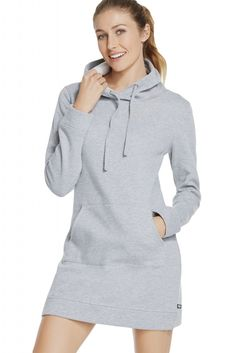 Gray Slim Fit Pocket Front Hoodie Mini Dress e0f1c5672