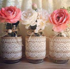 Becka's Bridal Shower: Mason Jar Centerpieces