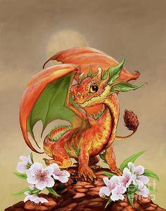 Peach Dragon Digital Art by Stanley Morrison / small dragon / cute dragon / little dragon / fantasy creature Tiny Dragon, Little Dragon, Magical Creatures, Fantasy Creatures, Fantasy Dragon, Fantasy Art, Dragon Series, Dragon Artwork, Dragon Drawings