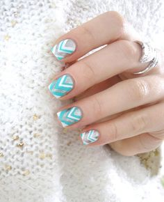 Chevron nail art: three color colour design: white (Essie Blanc), mint green blue (Kiko) and silver (OPI Your Royal Shine-Ness) #spring #summer #pastel #nailart #manicure 2013 | Cocos Nails