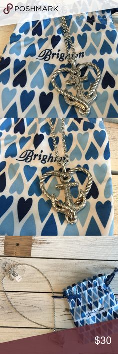 """NWT Brighton Anchor Necklace Brand New! Never worn. Brighton necklace """"ANCHORED IN LOVE"""" Seas the Day, includes 18"""" adjustable chain. Reversible with beautiful Brighton detail on both sides of heart and anchor. Retail $52.00 Brighton Jewelry Necklaces"""