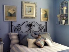 My blue and white guest room