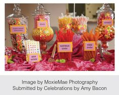 Allow guests to fill their own bags with goodies from a buffet of different types of candy. AZ Interest: Simple Wedding Favor Ideas | WedAZ Articles - Wedding Articles
