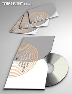 FLIP SLIDE CD case consists of two identically shaped parts and an axle-pin. This is a simple and economic solution, production-friendly, with various graphic design a material-combining possibilities.