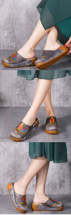 US$55.77 SOCOFY Colorful Pattern Hollow Out Bakcless Slip On Flower Shoes