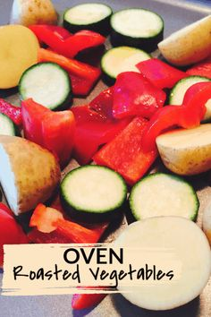 These easy roasted vegetables only take minutes to make in the oven. An easy way to cook fresh vegetables. Yummy Vegetable Recipes, Vegetarian Recipes Easy, Vegetable Dishes, Side Dish Recipes, Healthy Recipes, Side Dishes, Delicious Recipes, Healthy Food, Roasted Vegetables