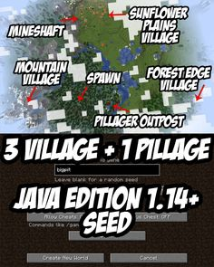 Building Games 569564684125539693 - Pillager Outpost, 3 villages and a Mineshaft seed for Minecraft (Java): bigpit Source by Minecraft Poster, Craft Minecraft, Memes Minecraft, Cool Minecraft Seeds, Minecraft Cheats, Skins Minecraft, Minecraft Plans, Amazing Minecraft, Minecraft Decorations