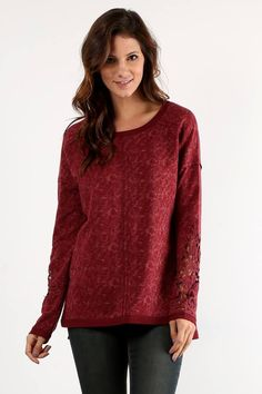 Crochet Sleeve Washed Dye Top in Burgundy ($68) Lace sleeve details give this crew neck top a unique, feminine flair. Subtle patterning from a washed dye treatment gives depth in rich burgundy tones. Wear with Mid Rise Super Skinny Jeans and your favorite fall booties for a decidedly boho casual look.