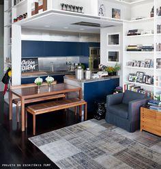 Small kitchen and living room via Referans Design Blog.