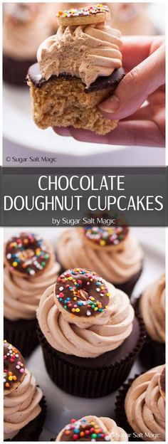Chocolate Doughnut Cupcakes are a cinnamon cupcake, topped with a chocolate glaze, then whipped milk chocolate buttercream frosting. Divine! via @sugarsaltmagic