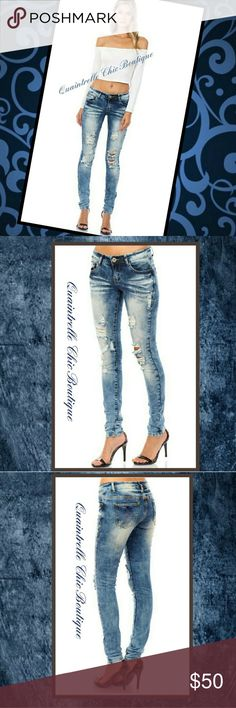 🆕THE LOOK PREMIUM SKINNIES Get the look in these super comfy and sexy denims! This pair of jeans comes in a skinny fit with a low risw and distressing in the form of shredding, fading and whiskering.  - 98% Cotton 2% Spandex  - Please see measurements posted in pic #4. - All sales final, ask any questions prior to purchase. Quaintrelle Chic Boutique Jeans Skinny
