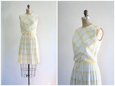 ヴィンテージ 50 s サマードレス  格子縞/淡い黄色のパステル組み合わせて plisse by AgeofMint