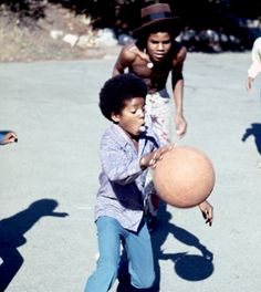 Michael Jackson playing basketball with his brothers  - Jackson 5 Era