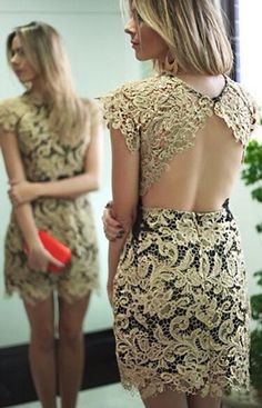 Golden Plain Hollow-out Backless Lace Dress 21d1096b4ae9