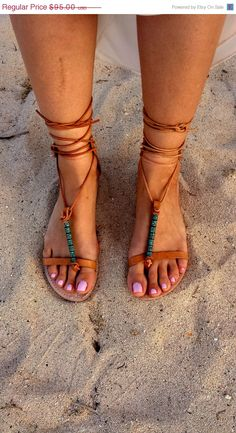 SALE Womens Leather Sandal, An all leather womens sandal  with wings that wrap your ankle and green patina beads to adorn your fee