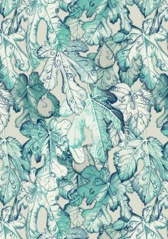 Fig Leaf Fancy - a pattern in teal and grey Art Print
